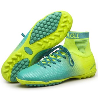 BYL-S soccer football shoes cleats outdoor football shoes (Yellow-blue)