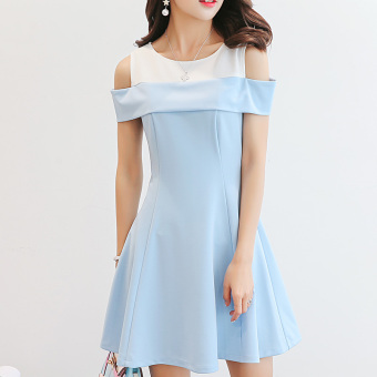Caidaifei fashion women's Plus-sized slimming versatile bottoming dress Korean-style short sleeved dress (Sky blue color) (Sky blue color)
