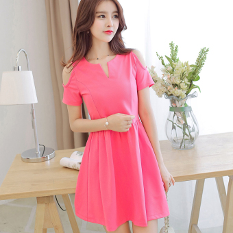 Caidaifei Korean-style New style Plus-sized elegant short sleeved dress (Light rose)