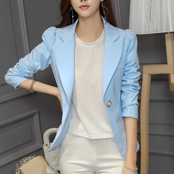 Caidaifei Korean-style solid spring and summer New style Women's suit (Sky Blue) (Sky Blue)