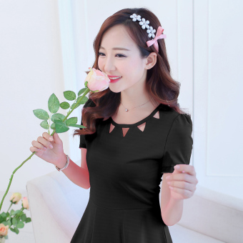 Caidaifei Korean-style spring and summer New style Women's Plus-sized dress (Short sleeved black)