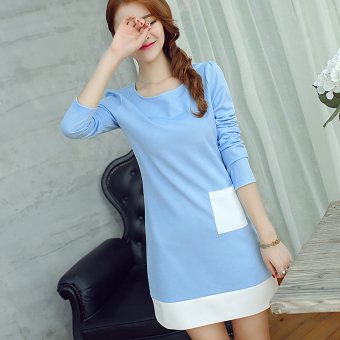 Caidaifei spring and summer New style Slim fit knit dress (Sky Blue) (Sky Blue)
