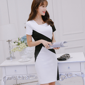 CALAN DIANA Women's Korean-style Gored Short Sleeve Underskirt Dress (White)