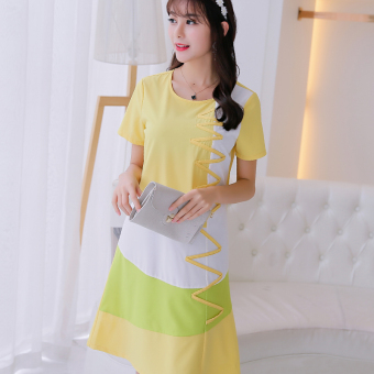 CALAN DIANA Women's Korean-style Large Size Short Sleeve Underskirt Dress (Yellow)