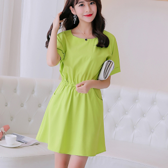 CALAN DIANA Women's Korean-style Solid Color Mid-length Sleeve Underskirt Dress (Scholar green)