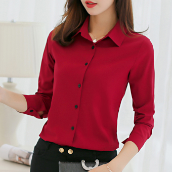 CALAN DIANA Women's Slim Fit Chiffon Long Sleeve Shirt Color Varies (Wine red color)