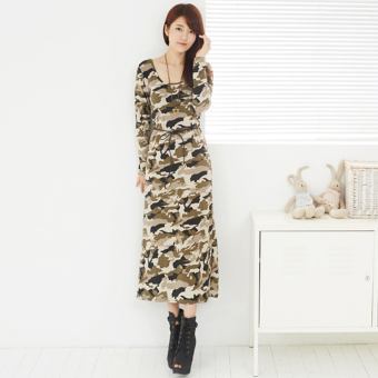 Camouflage Print round neck Slim fit Slimming effect bottoming skirt dress