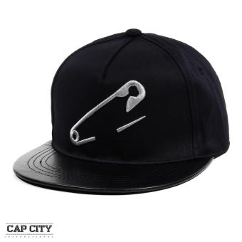 Cap City Hip Hop Pin Embroidery Casual Snapback Cap (Black)
