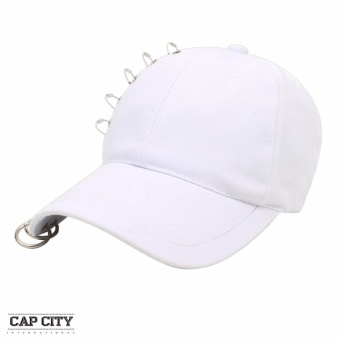 Cap City Korean Style with 5 Pins and 2 Ring Pierce Design Baseball Cap (White)