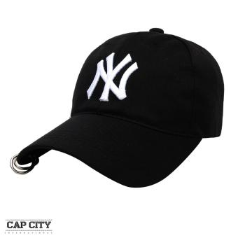 Cap City Korean Style with NY embroidery and 2 Ring Pirce Design Baseball Cap (Black)