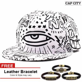 Cap City Unisex Hip Hop Doodle Snapback (White) with Free LeatherBracelet