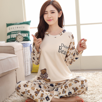 Cartoon female long-sleeved cotton Plus-sized tracksuit pajamas (Long sleeve beige bear)