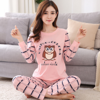 Cartoon female Spring and Autumn long-sleeved cotton tracksuit pajamas (Long-sleeved cat Head Eagle)