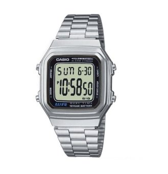 Casio Men's Silver Stainless Steel Strap Vintage Watch(A178WA-1ADF)