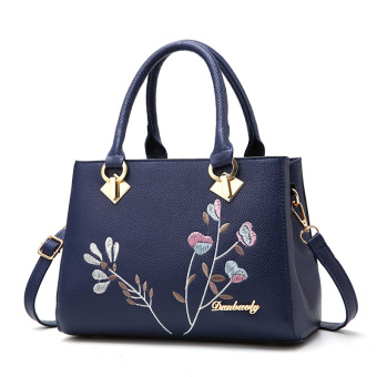 Casual middle-aged women embroidered shoulder bag women's bag (Sapphire Blue)