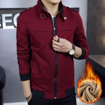 style autumn Slim fit on the casual jacket Plus velvet models Burgundy color