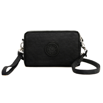 Casual nylon cross-body women's bag women's wallet (Black)
