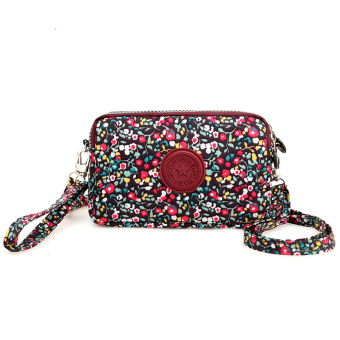 Casual nylon cross-body women's bag women's wallet (Crushed flowers)