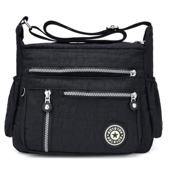 Casual nylon large capacity travel bag Oxford Cloth Bag (Style 2-black)