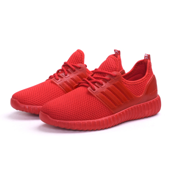 Casual red breathable female mesh shoes Korean-style sports shoes (Female Models + Red shoes Shoes)
