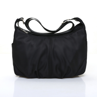 Casual waterproof nylon shoulder messenger bag sling bag Crossbody Bag (Black)