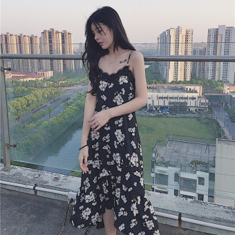 Chic Korean-style female New style slimming knee skirt floral Dungaree dress
