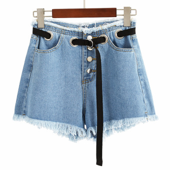 Chic retro blue high-waisted raw-cut cowboy shorts