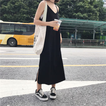 Chic retro style outerwear mid-length strap vest dress
