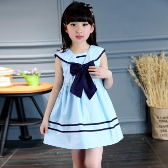 Children Girls Bowknot Sailor Dress Sleeveless Cotton Summer A-lineDresses(11-12 yrs) - intl Price Philippines