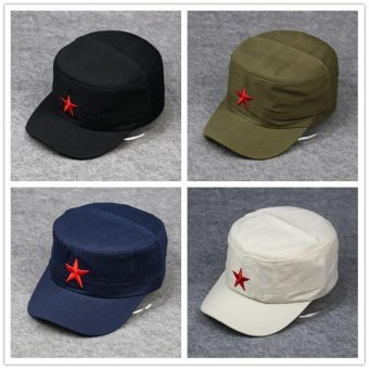 China and Cuba Revolution Style Men 's flat top hat five - pointedstar military Amy cap solid color Red Army cap hat - intl Price Philippines