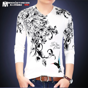 Chinese-style autumn men's printed long-sleeved t-shirt (White 8031)
