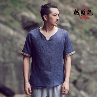 Chinese-style cotton linen summer short sleeved Plus-sized T-shirt (Navy Blue)