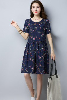 Chinese-style fashion Print round neck short-sleeved dress Linen skirt (Blue)