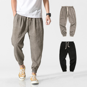 Chinese-style linen casual pants LOOESN sports pants (Gray)