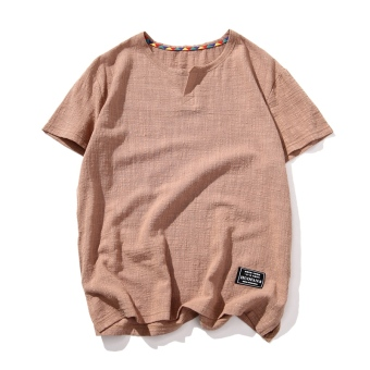 Chinese-style linen solid color summer Plus-sized T-shirt (Camel)