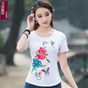 Chinese-style national wind Butterfly embroidered short-sleeved t-shirt bottoming shirt (White)