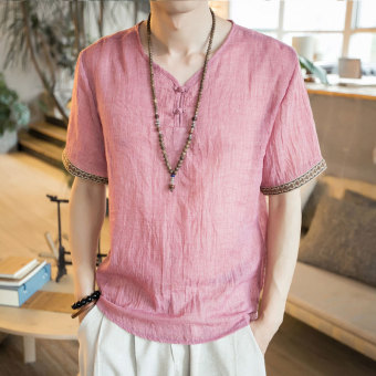 Chinese-style V-neck short sleeved t-shirt (Pink)