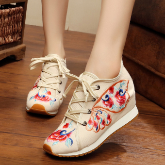Chinese-style Women's Embroidered Wedges Beef Tendon Cloth Shoes (Butterfly beige)
