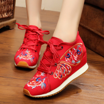 Chinese-style Women's Embroidered Wedges Beef Tendon Cloth Shoes (Butterfly red)