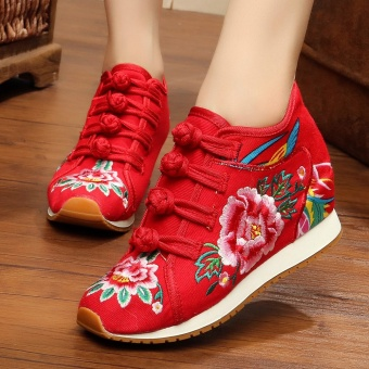 Chinese-style Women's Embroidered Wedges Beef Tendon Cloth Shoes (Red)