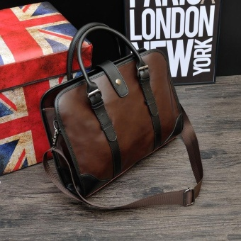 Classic Britian Multifunctional Large Capacity Leather Business Bag- intl