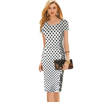 Classic European and American hot selling polkadot round neck short sleeved dress (White polkadot)