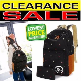Clearance Sale !!! Pilot 7005 Korean Fashion Style 2 Piece CanvasMini Cherry Print Casual Outdoor Student Backpack Bag With HandPouch (Black)