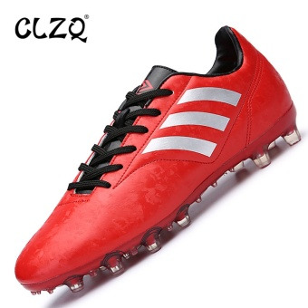 CLZQ Soccer Turf Shoes for Men Breathable Football Shoes CleatsIndoor Football Shoes Cheap Soccer Training Sneakers Men Red - intl