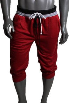Cocotina Sports Sweat Pants Harem Jogger Shorts (Wine Red)