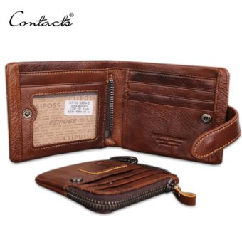 CONTACT'S Classical Men Wallets Genuine Leather Short Wallet Fashion Zipper Brand Purse Card Holder Wallet Man