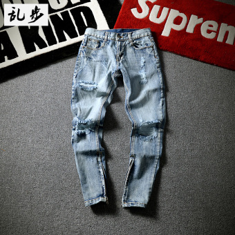 Cool Summer cat to be with holes denim pants
