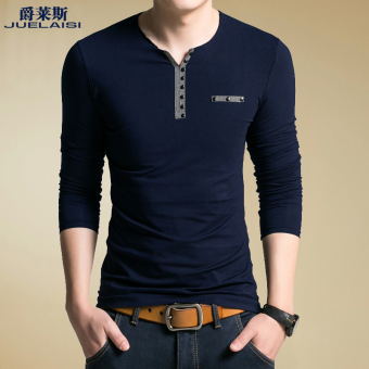 Cotton autumn and winter men's long-sleeved t-shirt (-Dark blue color-)