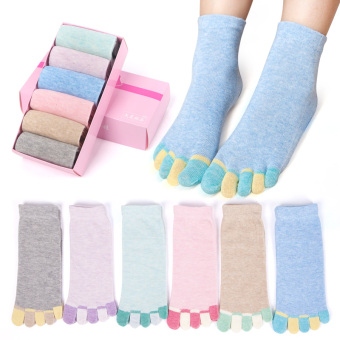 Cotton female tube autumn and winter breathable socks toe socks (Solid color 6 double)