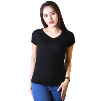 Cotton Republic Anastasia V-Neck Soft Top Blouse (Black)